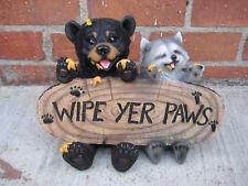 Bear and Raccoon  WIPE YER PAWS Figurine STATUE Figurine Sculpture Home decor