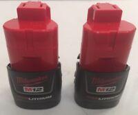 (2) NEW MILWAUKEE 48-11-2401 12V 12 Volt M12 Red Lithium-Ion OEM Battery Packs