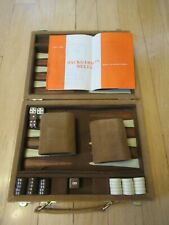 """Vintage Skor-mor Backgammon Game Case Attache 9"""" x 7"""" Case Tan Velvet"""