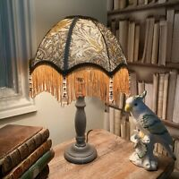 William Morris 'Snakeshead' pewter/gold fringed lampshade shade/ table lamp
