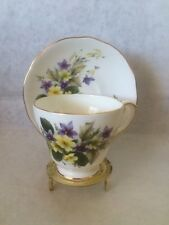 Duchess Bone China Cup & Saucer Violets Buttercups Purple Yellow Flowers England