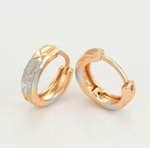 """9K 9ct Yellow & White """"Gold Filled"""" Hoop Huggies12mm Earrings Ladies Girls"""