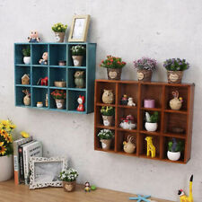Wooden Display Shelf Small Things Storage for Home Bar Shop Wall Decor-Brown