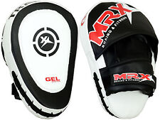MRX MMA Gel Tech Focus Pads & Mitts Hook & Jab Kick Boxing Muay Thai Curved, BW