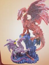 15 Inch Mother And Baby Dragon Figurine On A Rock Formation