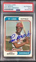 Lou Brock auto card 1974 Topps #60 MLB St. Louis Cardinals PSA Encapsulated