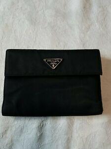 Prada Nylon Saffiano Leather Wallet Black
