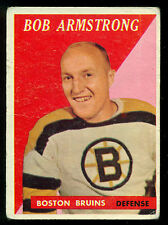 1958 59 TOPPS HOCKEY #1 BOB ARMSTRONG VG BOSTON BRUINS CARD