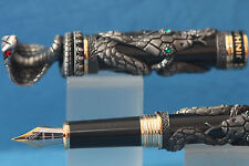 Jinhao Snake Series Fountain Pen, Black Lacquer with Antique Grey Overlay