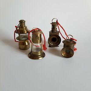 Miniature Miner's Lamps Christmas Ornaments Glass & Brass Lanterns