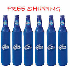 6 Authentic Bud Light 16oz Beer Slim Bottle Koozie Coolie Hugie Budweiser Water