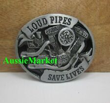 1 x mens ladies belt buckle jeans motorbike biker bike loud pipes save lives new