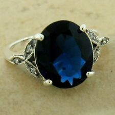 VICTORIAN 925 STERLING SILVER 3.5 CT ROYAL BLUE SIM SAPPHIRE RING SIZE 8,  #1143