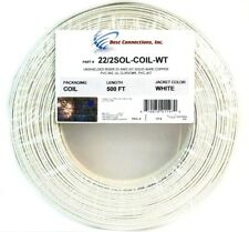22 Gauge 2 Conductor 500 Feet Solid Copper White Security Alarm Wire UL Listed