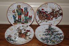 4 Williams Sonoma Twas Night Before Christmas Nutcracker Tree Santa salad plate