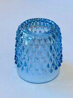 Vintage Indiana Glass Blue Diamond Point Fairy Lamp Fair Light TOP ONLY