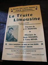 Partition La truite Limousine Jean Ségurel Tony Reval 1953 Music Sheet