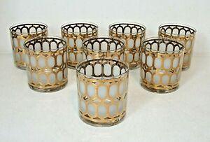 8 Set Signed CERA Mid-Century Modern Deco Hollywood GOLD Rocks Whiskey Glasses