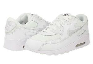 NEW Nike Air Max 90 Mesh Boys Kids PS Junior Running Trainers Shoes - All White