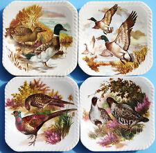 4 ROYAL ADDERLEY Floral Bone China England GAME BIRD Teabag Caddy Plate Dish
