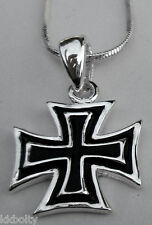 "STEEL IRON CROSS PENDANT WITH 16"" CHAIN NECKLACE"