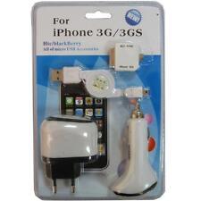 KIT CARICABATTERIA AUTO RETE CAVO USB + ADATT MICROUSB per IPHONE 3G 3GS 4 4G 4S