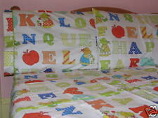 Kids Cotton Twin Size Alphabets Kids Duvet Cover Bedding Set White Red Blue