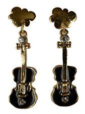 Ausgefallene Stecker Ohrringe Straß Musik Gitarre Geige Konzert schwarz 6518