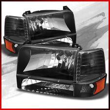 Fits 1992-1996 Ford Bronco/ F150/250/350 BLK Headlights + Bumper & Corner Lights
