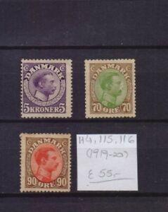 ! Denmark 1919-1920.   Stamp. YT#114,115,116. €55.00!