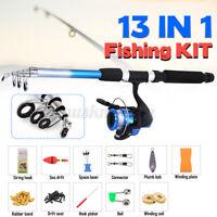 13PCS 5.9ft Telescopic Glass Fiber Fishing Rod Reel Combo Pole Spinning Gear Kit