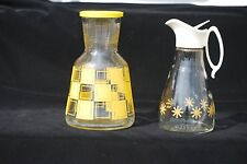 Vintage Hazel Atlas Glass Carafe with Glass Log Cabin Syrup Dispenser