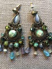 New Vintage Brass Tone Turquoise Green Stone Drop Chandelier Earrings Stunning!