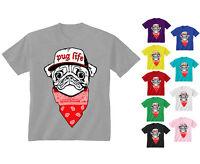 Kids Childrens Pug Life Dog Puppy Bandana Hip Hop Funny T-shirt 5-13 Years