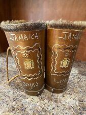 Vintage Unique Handmade & Decorated Jamaican Double Drum 12�x 6� Each Diameter