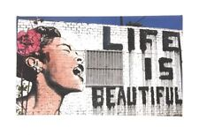 "Banksy ""Life is Beautiful"" Print on Canvas - New Sale"