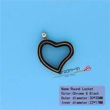 30MM Drip Black Heart Floating Memory Magnet Glass Locket Pendant Fit Charms
