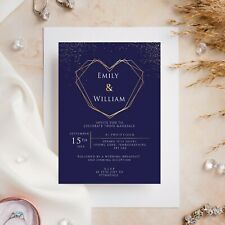 10 Wedding Invitations Day/Evening Navy with Gold Heart and Glitter Sparkle