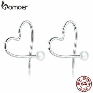 BAMOER New S925 Sterling Silver Hook Earrings Heart Shell Bead For Women Jewelry