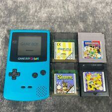 Turquoise Teal Nintendo Game Boy Color GBC Handheld Console Tested + Game Bundle