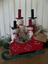 Early Christmas Offering-Family of Prim Handmade Snowmen in Painted Wood Sleigh