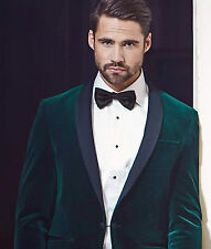Men Green Elegant Luxury Shawl Tuxedo Designer Velvet evening Party Wear Blazers