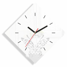 Modern White Butterfly Large Wall Clock Home Decor Living Room Bedroom Diamond