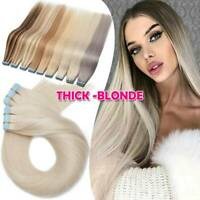 60pcs Tape in Real 100% Remy Russian Human Hair Extensions THICK White Skin Weft