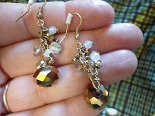 PRETTY PAIR OF BRONZE FACETED CRYSTAL CHARM DROP EARRINGS CJ1 M