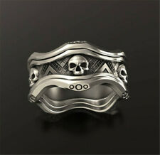 Cool 925 Silver Skeleton Skull Band Ring Band Women Men Biker Jewelry Size 5-13
