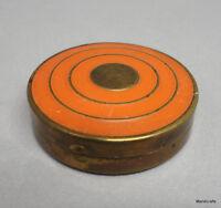 "Richard Hudnut Art Nouveau Rouge Compact 1.5"" Orange Enamel Three Flowers Canada"
