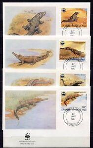 S3703) Congo 1987 MNH Wwf, Crocodile 4v FDC