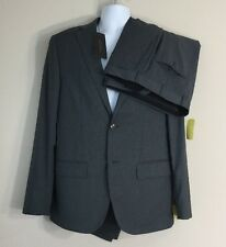 VALENTINO ROMA Charcoal Gray Fine-Stripe Fleece Wool Suit 40 R Dual Vents $1595