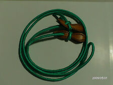 AW LEATHER GOODS GREEN YACHTING CORD ROPER REINS & ROPE EDGE SLOBBER STRAPS